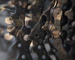 The Gritty Bicycle Chain - HMM! (suzanne~) Tags: macromondays chain macro bicycle dirty gritty winter lensbaby sweet80 shimano