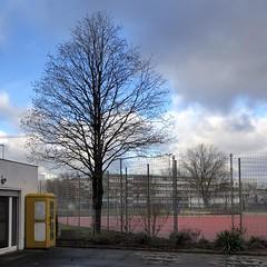 Festnetz zum Schnupperpreis (galibier2645) Tags: zaun baum sportplatz telefon telefonzelle festnetz wolken berlin