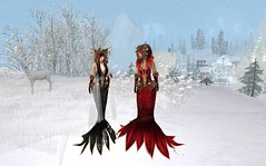 IrrISIStible Christmas Goddess (sequaneresident1) Tags: winter christmas ornaments red velvet gown dress mesh outfit clothes women goddess headpiece pine pinecone gold hairs sexy poinsettia flower fantasy irrisistible shop maitreya belleza slink hourglass snow omega applier gloves shoes design