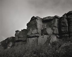 The Scout, Widdop, West Yorkshire (mattwells1986) Tags: monochrome mono blackandwhite landscape id11 fp4 ilford 4x5 largeformat superangulon 90mm schneider 45a toyo yorkshire gritstone rock widdop westyorkshire