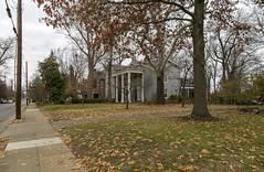 Houses — Lexington, Kentucky (Pythaglio) Tags: house dwelling residence historic sidewalk driveway leaves autumn trees italianate twostory brick cornice brackets portico lexington kentucky fayettecounty