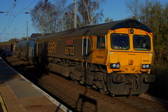 Leafbuster: 66703/66732 3S81 Elsenham 09/12/19 (TheStanstedTrainspotter) Tags: train trains rail railway transport transportation freight publictransport gbrf gbrailfreight 66 class66 66703 doncasterpsb 66732 gbrfthefirstdecade rhtt railheadtreatmenttrain broxbourne autumn essex westanglia westangliamainline elsenham 3s81 broxbournedntampsdggbf