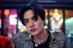 Handsome Guy (Jon Siegel) Tags: nikon nikkor d810 35mm 14 35mmf14ais 35mm14 man boy handsome fashion cool retro 80s chains bokeh night evening portrait korean southkorea seoul hongdae hongik