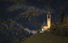 Dolomite Chapel At Eventide (WJMcIntosh) Tags: dolomites chapel autumn