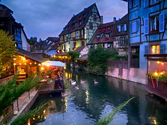 IMG_4765 Blue hour in Colmar (pinktigger) Tags: colmar alsace france hautrhin street night nightlights water waterway canal town cictyscape architecture building colorful houses europe reflections bluehour