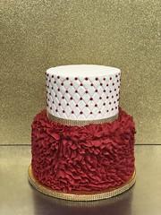IMG_7752 (backhomebakerytx) Tags: texas back home bakery backhomebakery texasbakery cake birthday quilt ruffles red gold dots