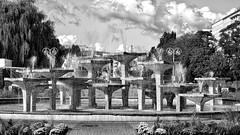 Fountain (rainerpetersen657) Tags: fountain springbrunnen gdynia gdingen poland polska polen blackandwhite bw blancoynegro schwarzweiss monochrome noirblanc noiretblanc travel clouds sony sonyalpha