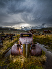 Spring Showers in High Desert (Jeff Sullivan (www.JeffSullivanPhotography.com)) Tags: rusty 1937 chevy abandoned car bodie state historic park bodiestatehistoricpark american wild west mining ghost town monocounty bridgeport california usa landscape nature night photography travel nikon d850 nikkor 1424mm lens photo copyright 2019 jeffsullivan june allrightsreserved hdr photomatix weather clouds puddles rural decay