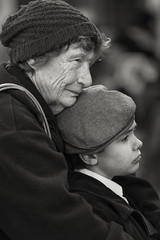 Love (crabsandbeer (Kevin Moore)) Tags: love family woman boy grandmother people candid street portrait monochrome bw chestertown maryland dickensfestival weekend generations christmas holiday event dickens
