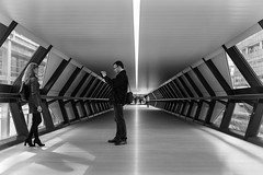 The moment (JMZ Photos) Tags: adams plaza bridge canary wharf taking picture smartphone man woman fuji fujifilm x xf xt1 t1 23mm f14 bw black white streetphoto