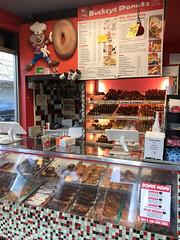 buckeye donuts (brown_theo) Tags: buckeye donuts high street doughnuts case tile store restaurant counter campus ohiostate highstreet columbus ohio longjohn bismarck