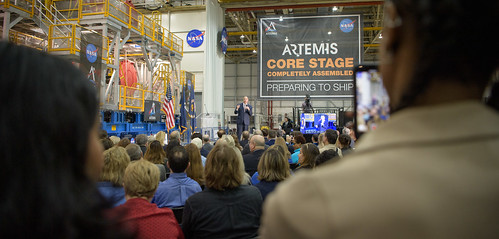 Artemis Day, Unveiling of Moon Mission Rocket Stage (NHQ201912090013)