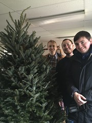 A fresh tree was selected by Jared, Tom and Jeremy, with a little help from St. Joseph!er Kesicki blesses the new tree on the Feast of St. Nicholas, December 6, 2019.