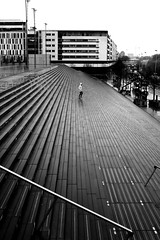 Halfway (pascalcolin1) Tags: paris13 homme man pluie rain lumière light reflets reflection marches steps escalier stairs photoderue streetview urbanarte noiretblanc blackandwhite photopascalcolin 50mm canon50mm canon