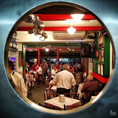Bar Jobi (IanzPhotography) Tags: bar restaurant circle window round people door