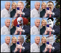 Selfie B*st*rds (Cui Bono) Tags: boris johnson conservative party tory election prince andrew ponce paedophile pennywise chinese man meme money pound notes adolf hitler phillip schofield stephen king television presenter itv this morning telly nazi clown royal