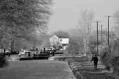 Flight (Tony Tooth) Tags: nikon d7100 nikkor 55300mm canal waterway locks lockflight towpath walker figure churchlawton trentmerseycanal cheshire bw blackandwhite monochrome