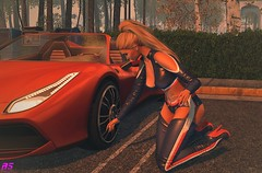 Oh No!The Car Tyre Is Punctured (alexandra sunny) Tags: adorsy avada kinkyevent swank catwa maitreya aviglam stealthic secondlfe blog blogger fashion female woman landscape car red pose nails