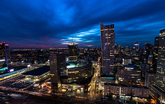city lights (iwona.kilichowska) Tags: dusk night city cityscape warsaw buildings skyscapers archtecture poland lights down sunset twilight view downtown outside sky
