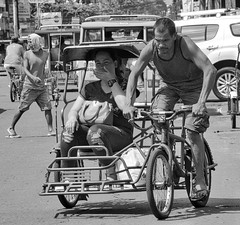 Hard Labour (Beegee49) Tags: streets people tricycle public transport blackandwhite monochrome sony city philippines asia bw a6000