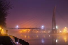 Bridge on a Misty Night (metsemakers) Tags: bridge brug maasmechelen mist night water reflection reflectie sony a58 50mm