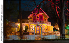Christmas Lighting, Ford Cottage (jwvraets) Tags: grimsby grimsbybeach cottage gingerbread christmaslights fordcottage night composite opensource rawtherapee gimp nikon d800 afnikkor50mm118d