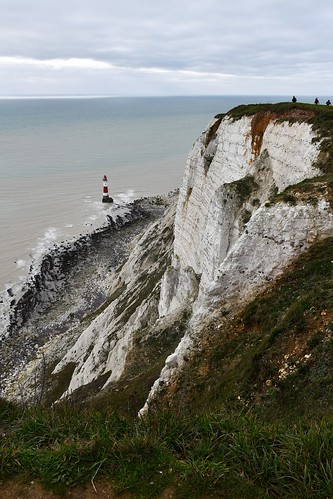 Beachy Head chalk cliffs and lighthouse