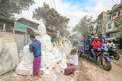 Marble Sculptors of Mandalay (kiwi photo lover) Tags: myanmar burma chanmathazi neighbourhood dusty hot humid white marble buddha statues industry streetphotography mandalay religion depiction handgestures