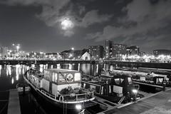 Moonlit Salthouse Dock (3991), b&w. (liverpix) Tags: royal albert dock