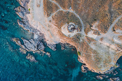 Derelict  Lighthouse (The Hobbit Hole) Tags: blue hellas ship droneshot waterdji swimmer swimming fromaboce aerialphotography mavic2pro greece aerial containers sailboat sea