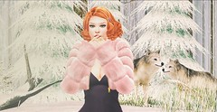 ♚ #829 ♚ (Caity Saint) Tags: tableauvivant redhead cynful collabor88 heaven shape joplino suicidedollz event backdrop snow winter genus bento maitreya sl secondlife pixels avatar doll 3d av