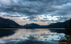 Late September sunset (Photosuze) Tags: sunset lake water clouds alberta canmore mountains fall autumn canada landscape serene