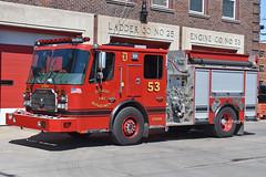 Detroit MI   Engine 53 (kyfireenginephoto) Tags: pumper helmet dfd cinder 2017 truck wayne mi red engine hose ferrara detroit siren michigan greenfield