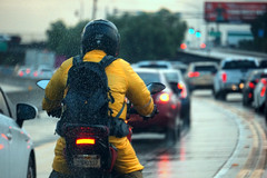 Motorcycle (oats.raw) Tags: rainy day sonya6000 motorcycle cars traffic rain raindrops roof blue cold fall winter