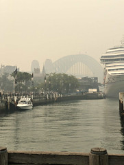2019 Sydney Smoke: Harbour Bridge @1.55pm (dominotic) Tags: 2019 bushfiresmoke eeriesmokyglow badairquality smoke innersydney sydneyharbour sydneyharbourbridge cruiseship sydney nsw australia