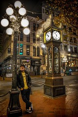 'Blowing off steam' -  Gastown Steam Clock (Christie : Colour & Light Collection) Tags: clock waterstreet steam raymondsaunders 19777 vancouver cityofvancouver city gastown gastownvancouverbc vancouverbc canadianhistory thegastownsteamclock steamclock downtownvancouver downtown oldbuildings person man waiting runninglate vancouvereastside vancouvereast steaming gastowndistrictofvancouver clockcase valves tunes steamwhistle westminsterchimes time blowingsteam nikon nikkor nightphotography lowlightphotography citylights blowingoffsteam streetcorner sidewalk streetside originalsettlement landmark vancouverlandmark streetlamp streetlights historicbuildings nationalhistoricsite venting vent candid
