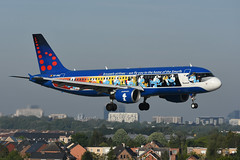 OO-SND.EBBR.140519 (MarkP51) Tags: brussels airport plane airplane nikon belgium image aircraft airliner bru ebbr d7200 markp51 nikonafp70300fx sunshine sunny colours special airbus bel smurfs a320 sn a320214 brusselsairlines oosnd zaventem