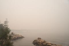 ... to country smoke (OzzRod) Tags: pentax k1 soligor28mmf28 bushfire smoke haze pollution bridge hawkesburyriver mooneemoonee nsw