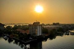Early Morning Cochin (Tony Shertila) Tags: india nikon5300 asia cochin columbus cruise deck kochin outdoor ship tourist worldcruise 201904100846180 sunrise building water reflections
