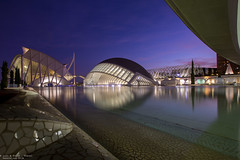 Valencia - Spain (Dennis van Dijk) Tags: valencia spain architecture night sunset blue hour purple shot photography city citytrip cityscape calatrava museum ciencias palau artes hemisphere waterscape wide angle lines curves beauty art espana urban oldtown ciudad vieja europe longexposure spaceship futuristic