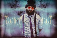 Mad Hatter (michellevallese) Tags: alice wonderland man tie beard sunglasses portrait