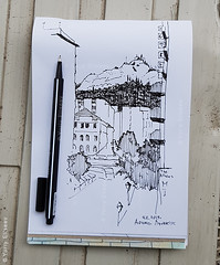Mount Lycabettus. Athens (yuriye) Tags: sketch draw lycabettus greece omonoia athens art travel αθήνα ομόνοια mount urbanathens urban fineart drawing artwork набросок зарисовка рисунок скетч гелевая ручка november monastery diros hotel ликабетус lycabettos lykabettos lykavittos λυκαβηττόσ instaart афины греция графика