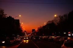Winter sunset (salaminijo) Tags: winter sunset boulevard newbelgrade street traffic cars outdoor light atmosphere eos europe evropa ser view lightanddark road vechicle building shillouette