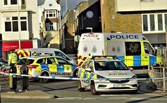 Incident, Brighton. (ManOfYorkshire) Tags: sussex police constabulary vauxhall ford mercedes cordon brighton seafront marineparade blockade incident hitrun officer gx17bxu island bollards tape 999 emergency car van