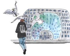 Bij de markthal (ga daar niet een broodje lopen eten) / At the market hall (don't eat your sandwich there) (h e r m a n) Tags: rotterdam markthal meeuwen gulls attack aanval sandwich broodje herman illustratie tekening drawing illustration dagboek diary journal mijnleven mylife