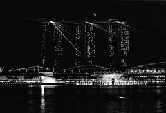 Laser show in B&W (Thanathip Moolvong) Tags: epson v800 nikon f100 kodak tmax p3200 bw film laser show night water building