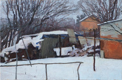 (Bohdan Tymo) Tags: oilpainting snow countryside winter gray dull landscape trees
