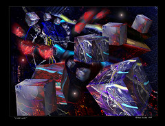 """""""Cube Wars Over Black Hole"""" (Paul Ewing) Tags: cubes 3d chromadepth chromadepth3d abstract abstractart abstraction digitalart digitalartist surreal surrealism"""