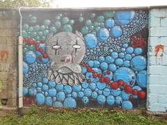 185 (en-ri) Tags: dog muro gelo cane wall writing graffiti grigio head clown sub crew cuneo rosso azzurro nero pagliaccio testa savigliano gelos bollicine