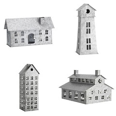 Galvanized Village (Heath & the B.L.T. boys) Tags: galvanized metal house barn lighthouse potterybarn